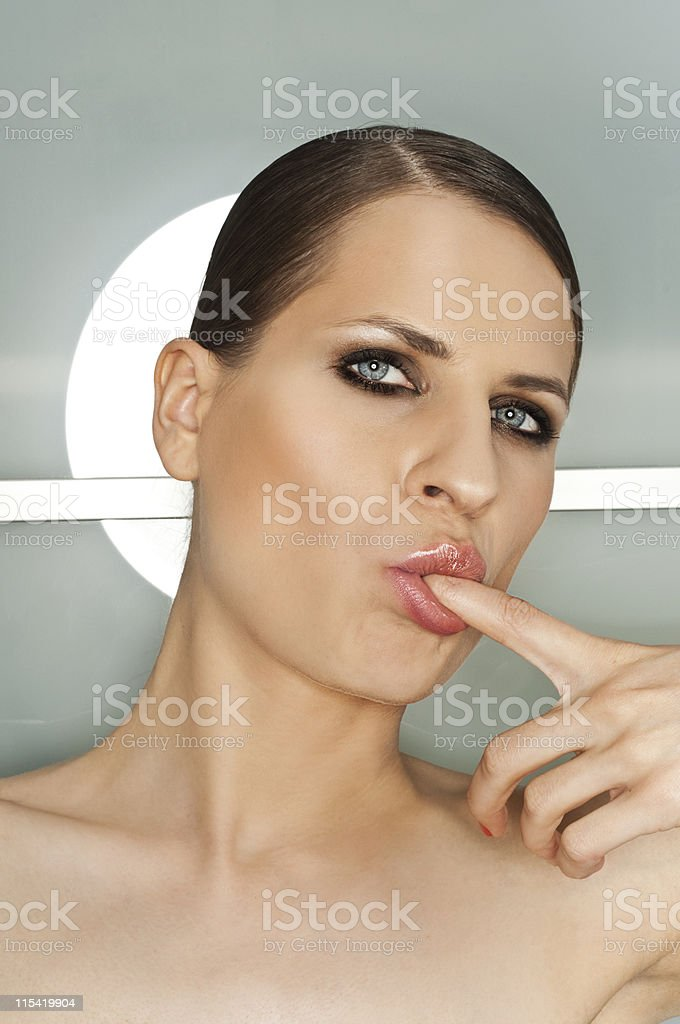 woman sucking finger royalty-free stock photo