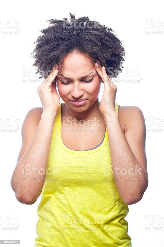 Woman suffering from a headache stock photo