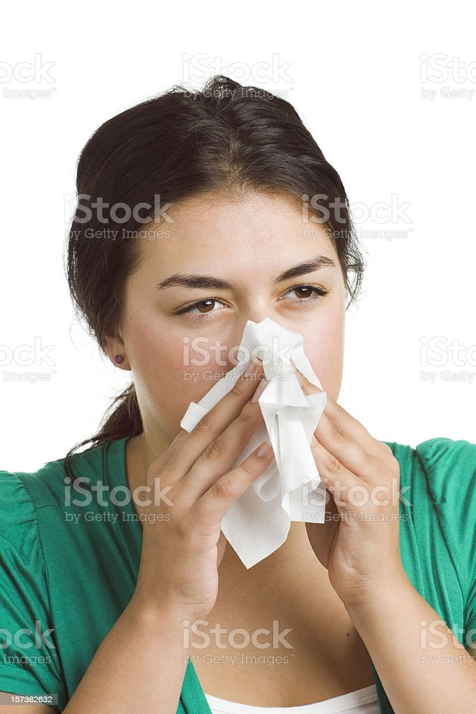 Woman Suffering from Cold and Flu Virus, Sneezing, Blowing Nose royalty-free stock photo