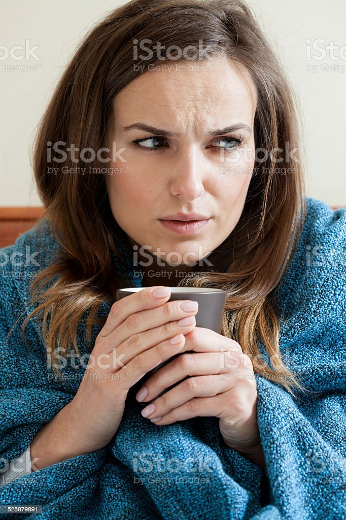 Woman suffering from cold stock photo