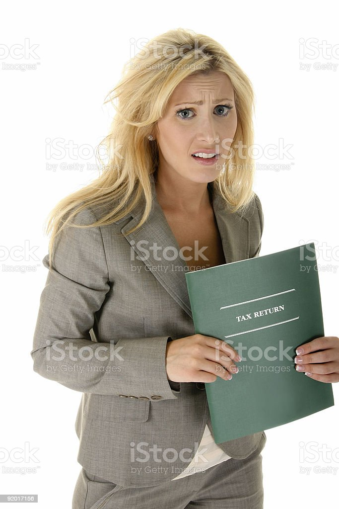 Woman Suffering From Tax Shock! royalty-free stock photo