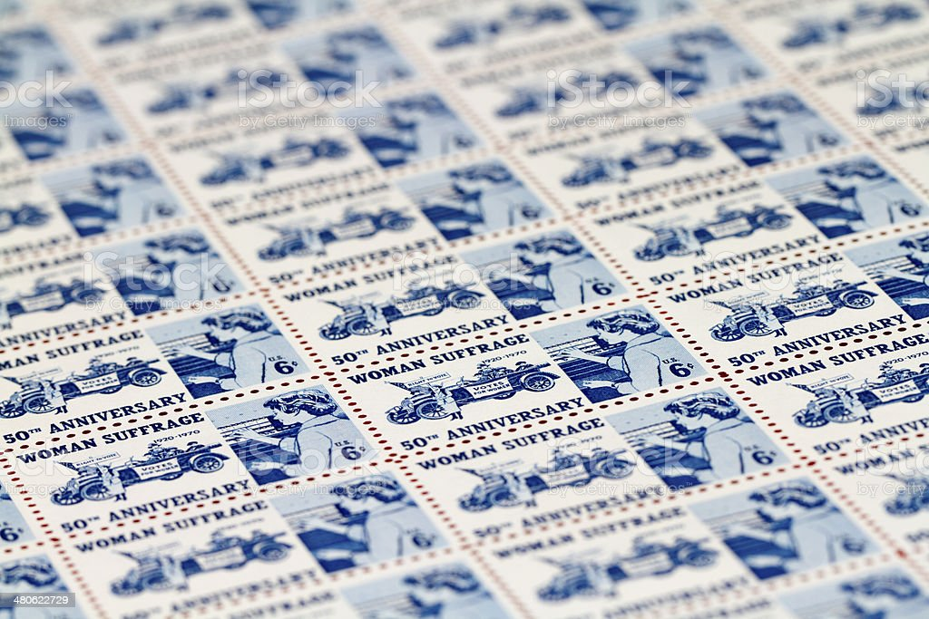 Woman Suffrage 1970 US Postage Stamp Sheet stock photo