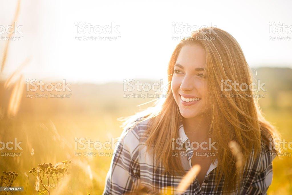 Woman - sunny nature portrait stock photo