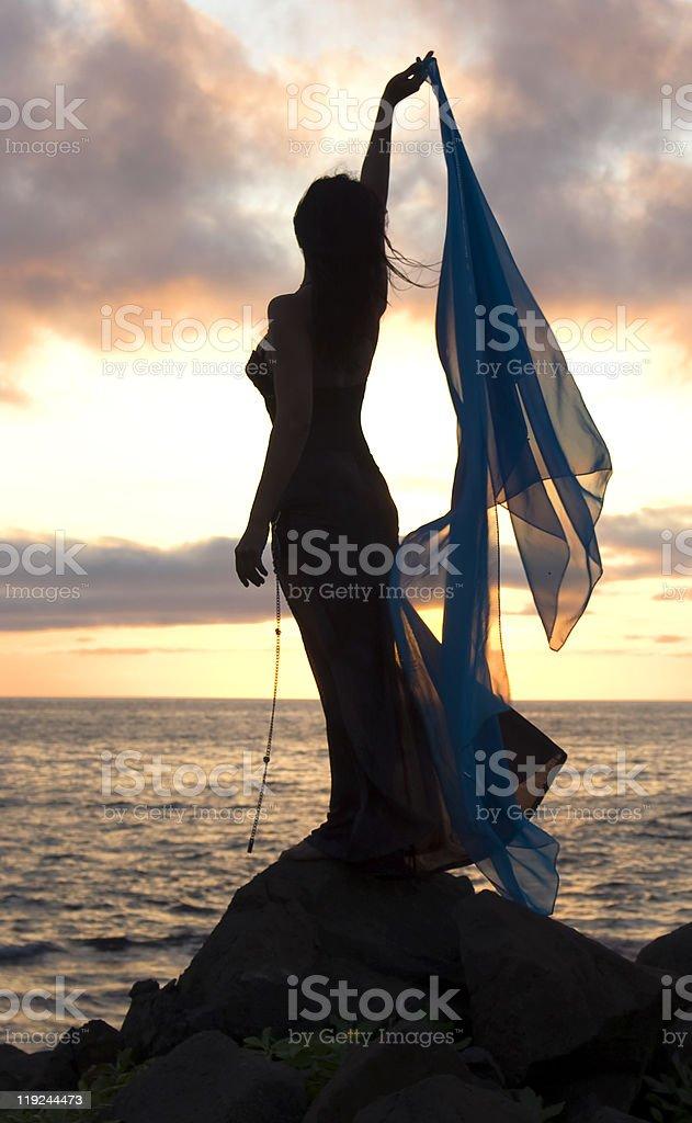 Woman sunset royalty-free stock photo