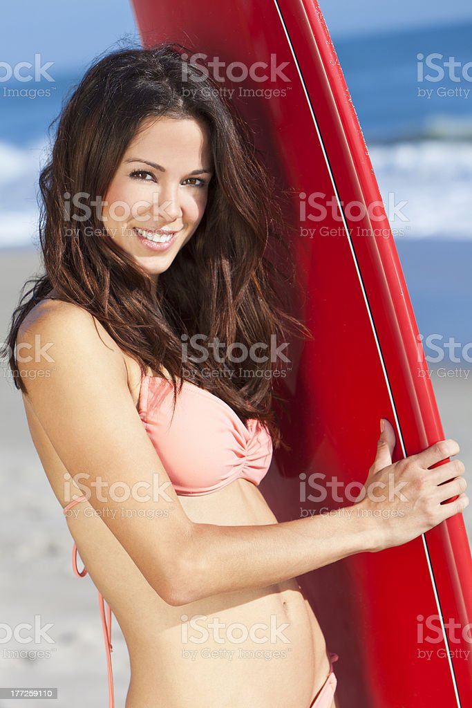 Woman Surfer Girl In Bikini With Surfboard At Beach royalty-free stock photo