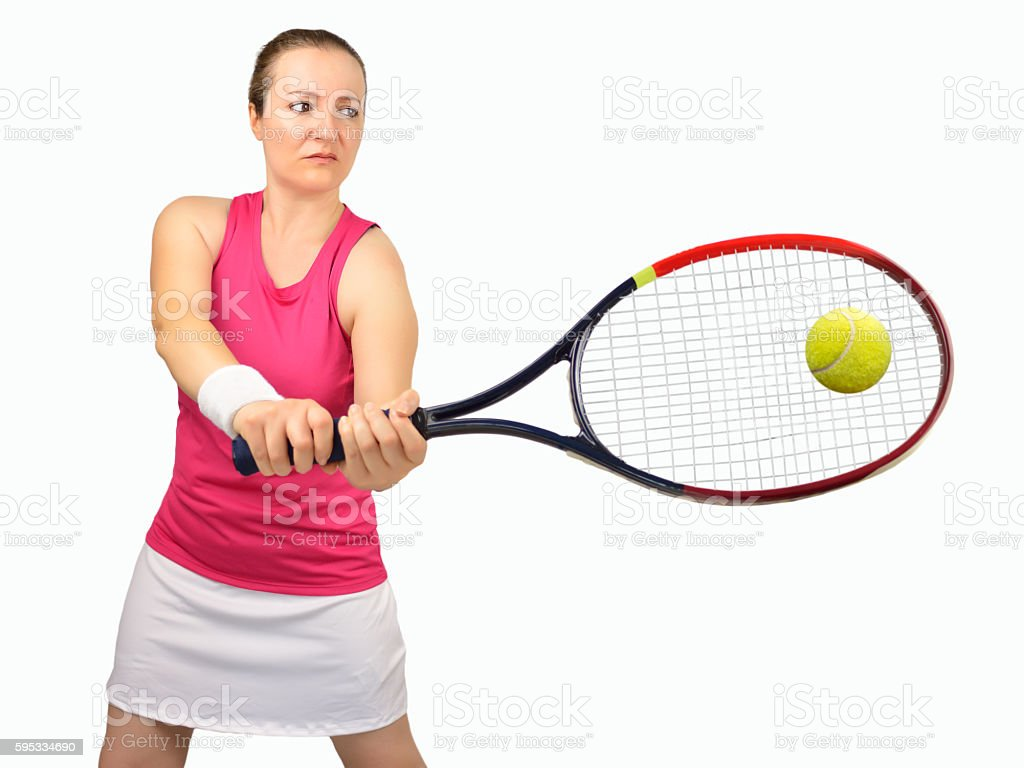 woman swatting the ball the tennis stock photo