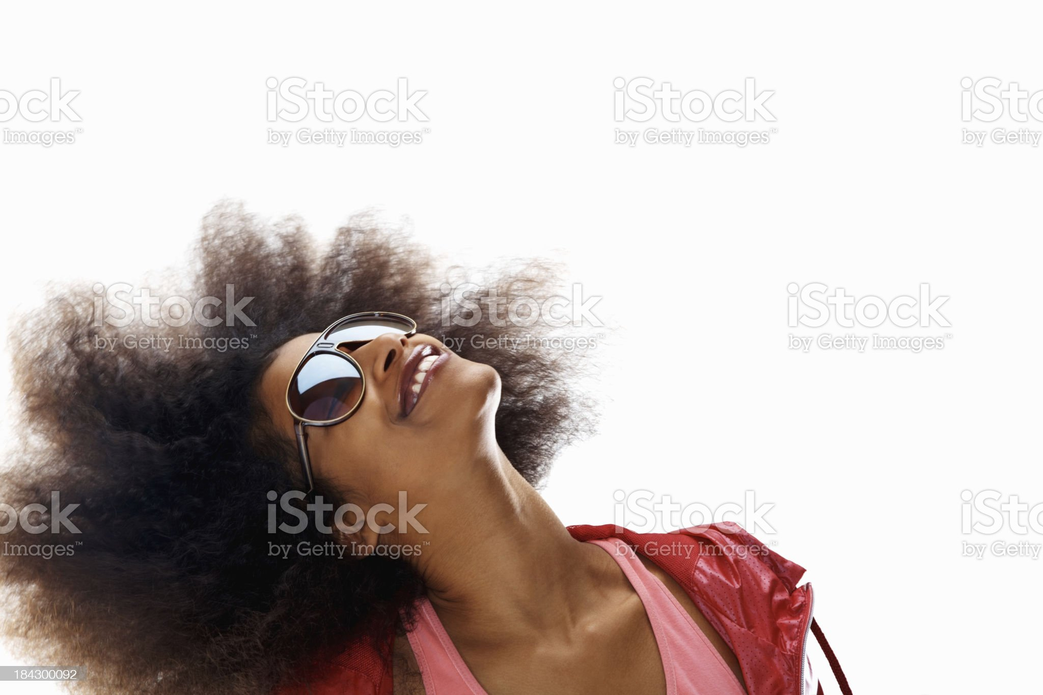 Woman swaying her hair on white background royalty-free stock photo