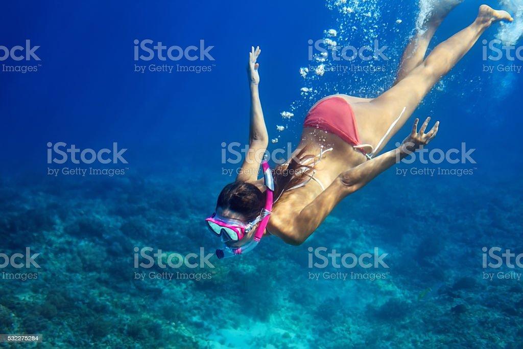 Woman swim underwater in tropical sea stock photo