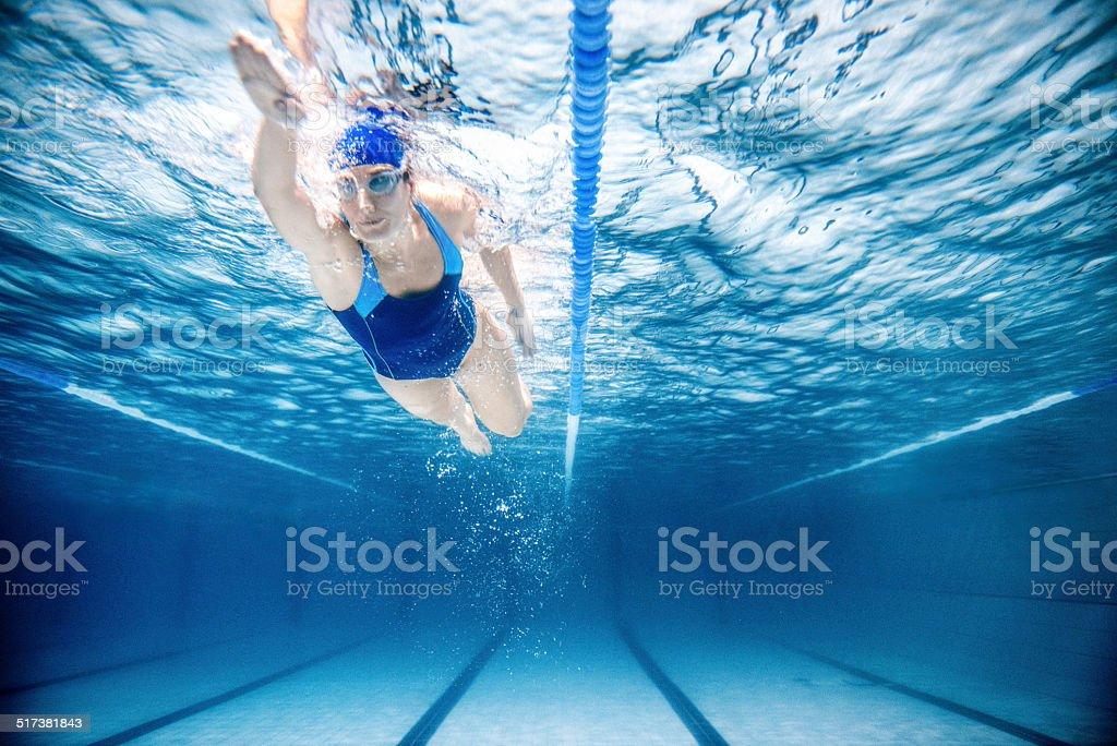 Woman Swimming Freestyle stock photo