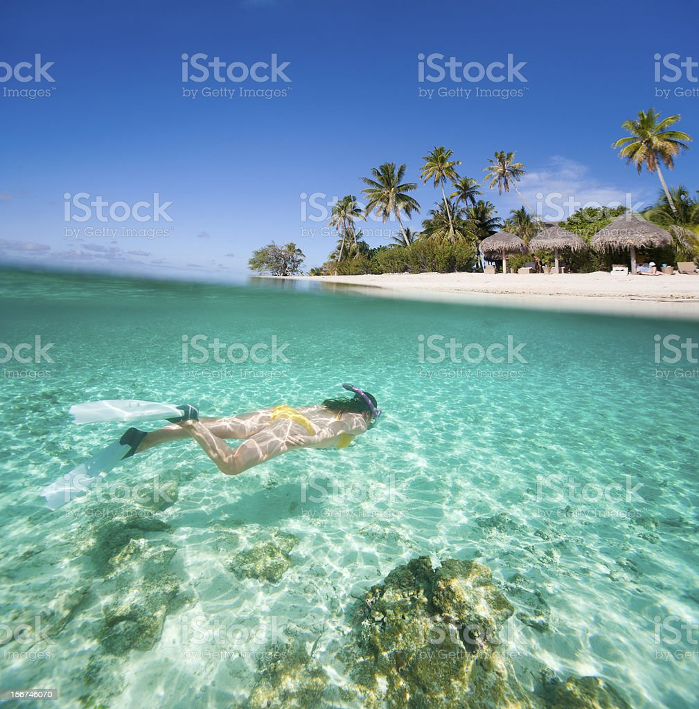Woman swimming in the clear waters of Hawaii stock photo