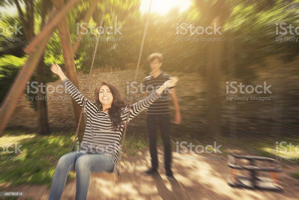 woman swinging royalty-free stock photo