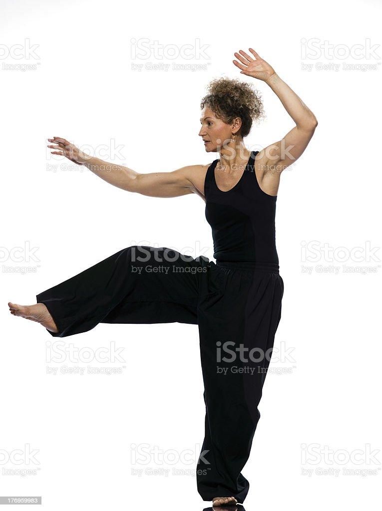 woman tai chi posture tadjiquan stock photo