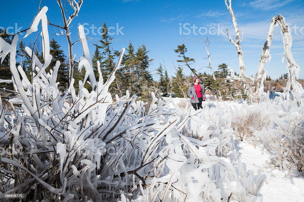 Woman takes a selfie by frozen tree stock photo