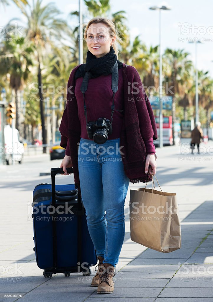 Woman taking a journey stock photo