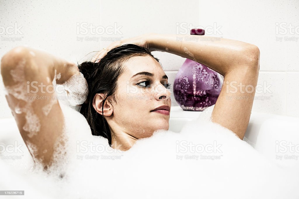 Woman Taking a relaxing Bath royalty-free stock photo