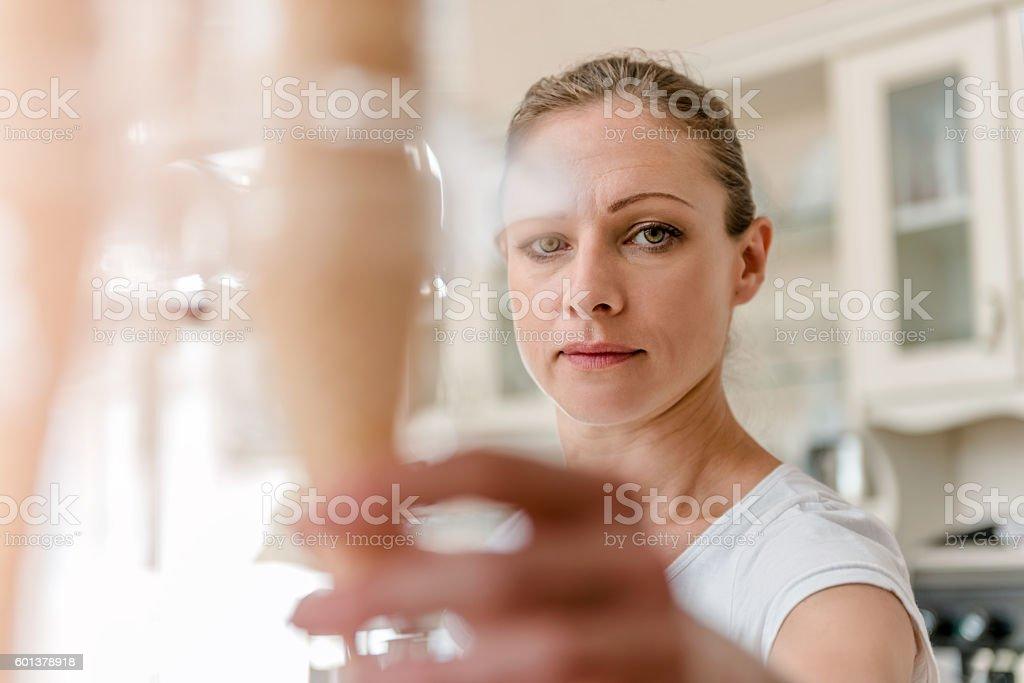 Woman taking Ice Cream Waffle Cones stock photo