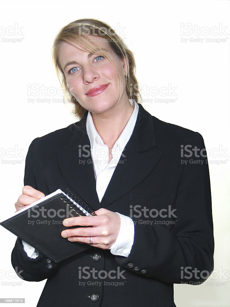 Woman taking note royalty-free stock photo