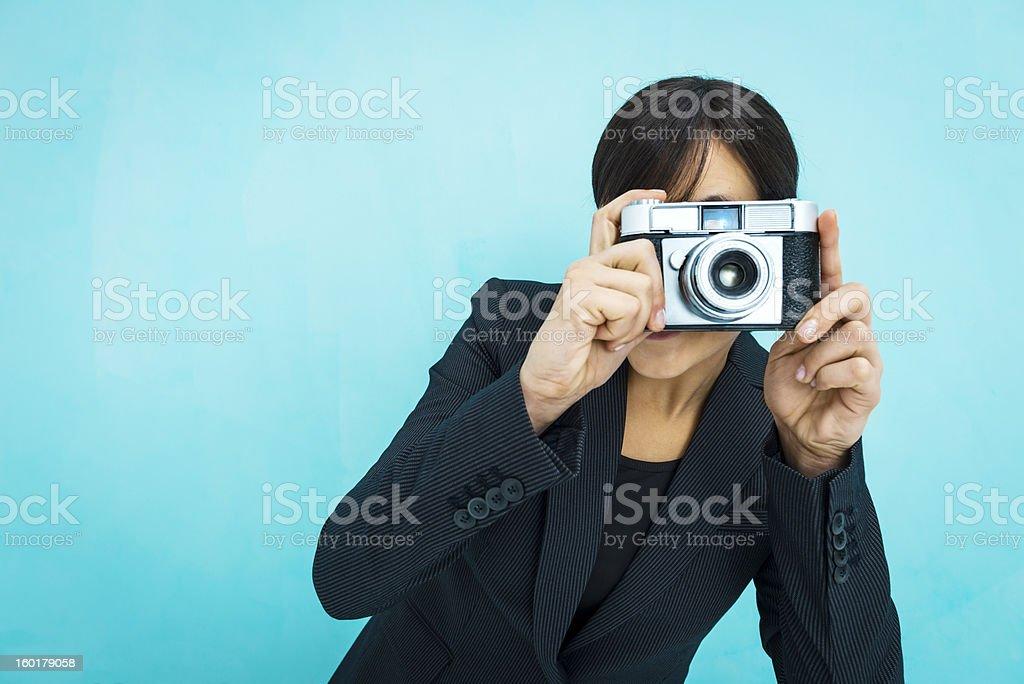 Woman taking photos royalty-free stock photo