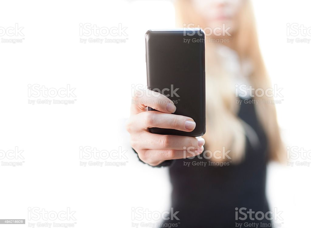 Woman taking pictures stock photo