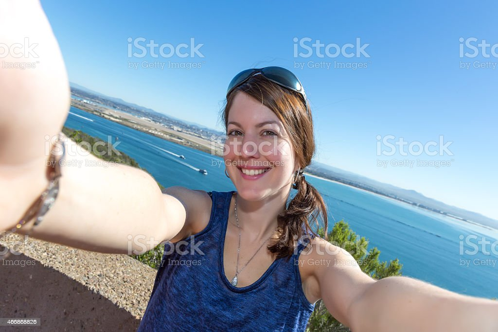 Woman Taking Selfie at Cabrillo National Monument in San Diego stock photo