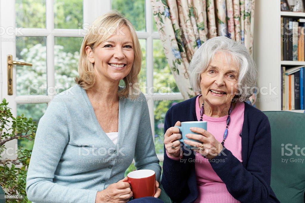 Woman Taking Time To Visit Senior Female Neighbor And Talk stock photo