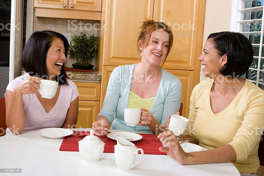Woman talking having coffee royalty-free stock photo