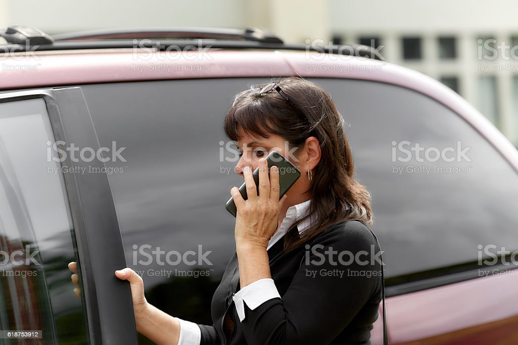 Woman talking on Cell Phone while Entering Car stock photo