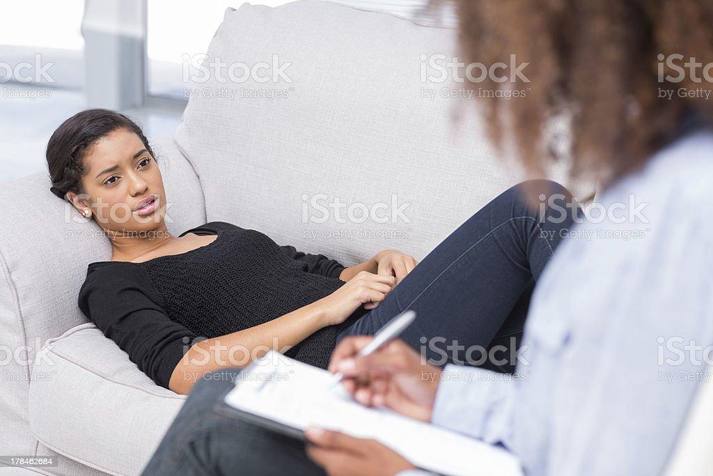 Woman talking to therapist stock photo
