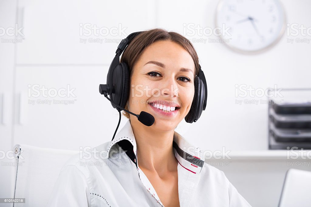 Woman talking with customer stock photo