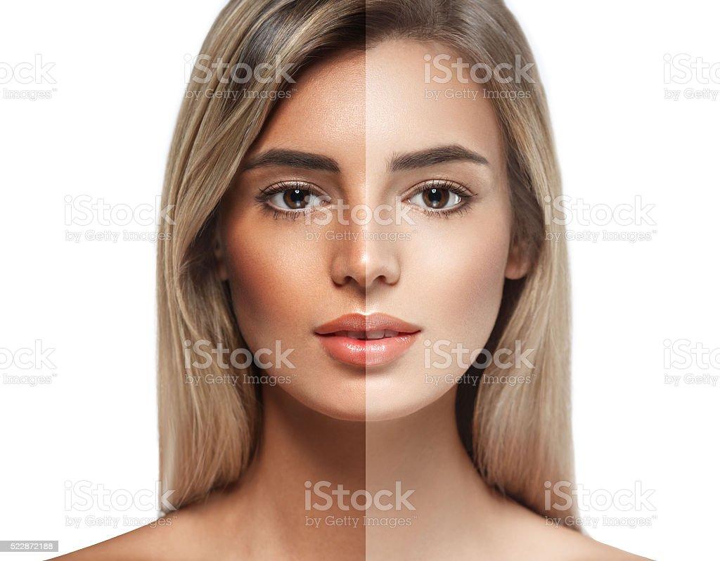 woman tan half face beautiful portrait spray stock photo