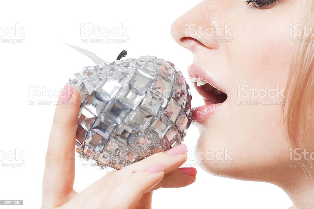 Woman taste apple with her mouth royalty-free stock photo