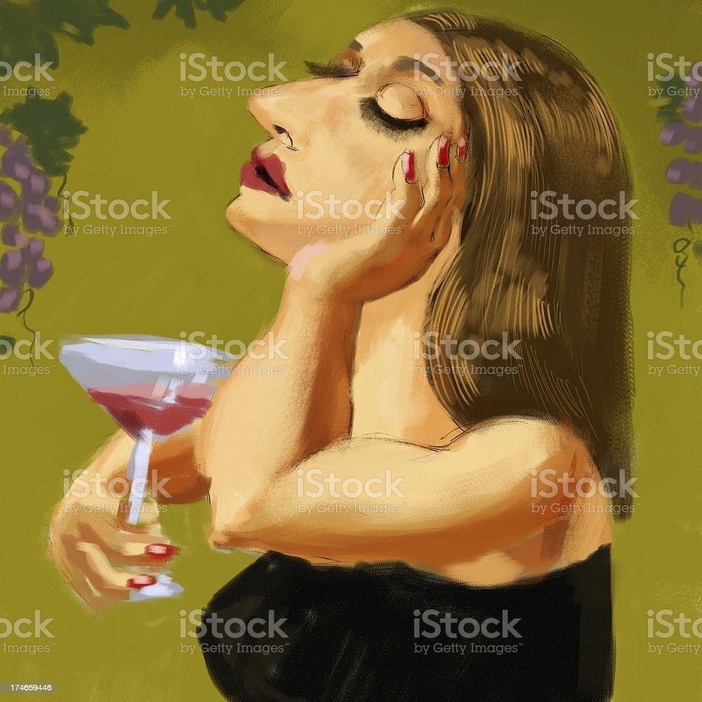 Woman tasting wine stock photo