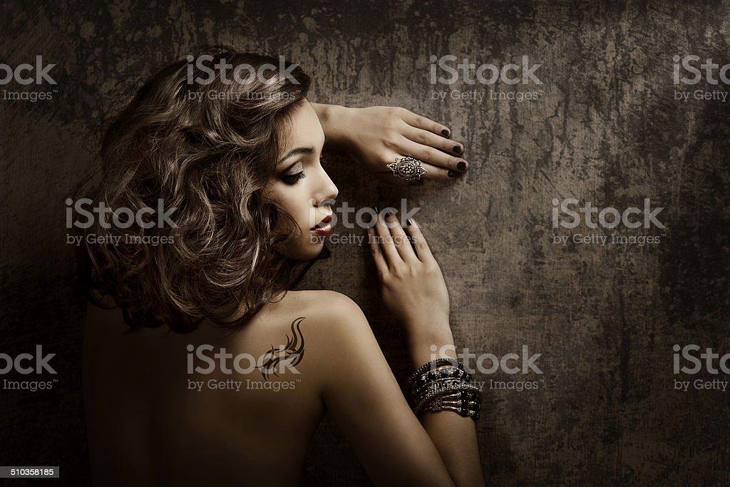 Woman Tattoo back shoulder, sexy girl beauty fashion portrait stock photo