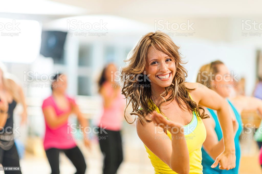 Woman Teaching a Fitness Class stock photo