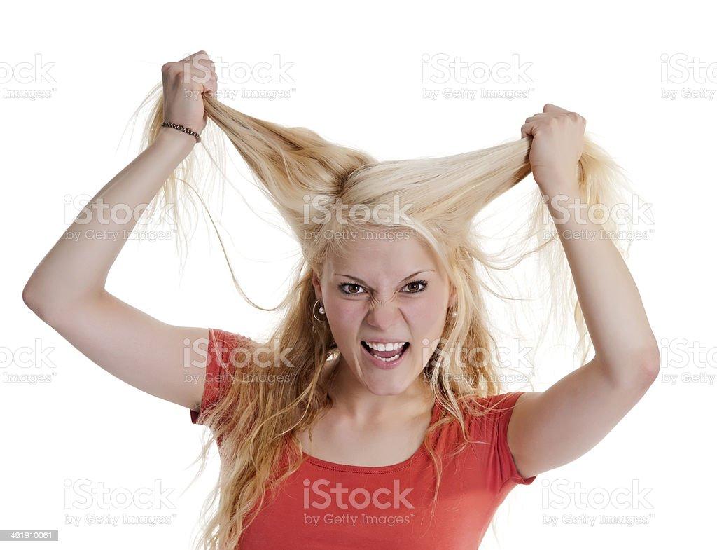 woman tearing hair stock photo