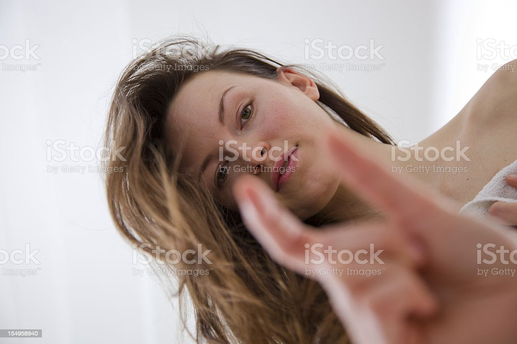 Woman Teasing Man with Small Penis stock photo