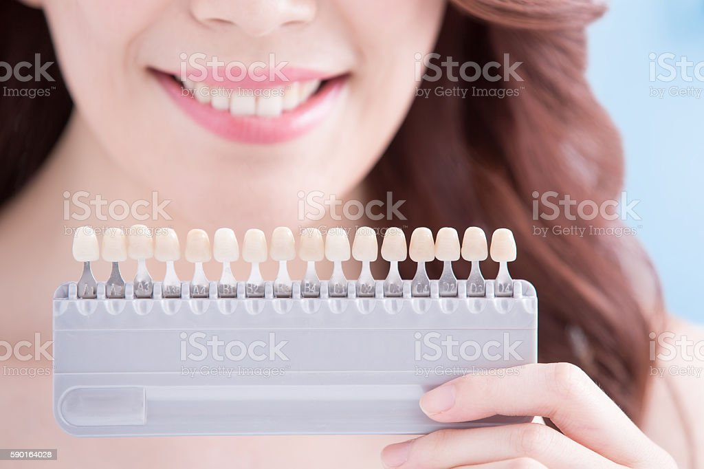 Woman teeth whitening concept stock photo