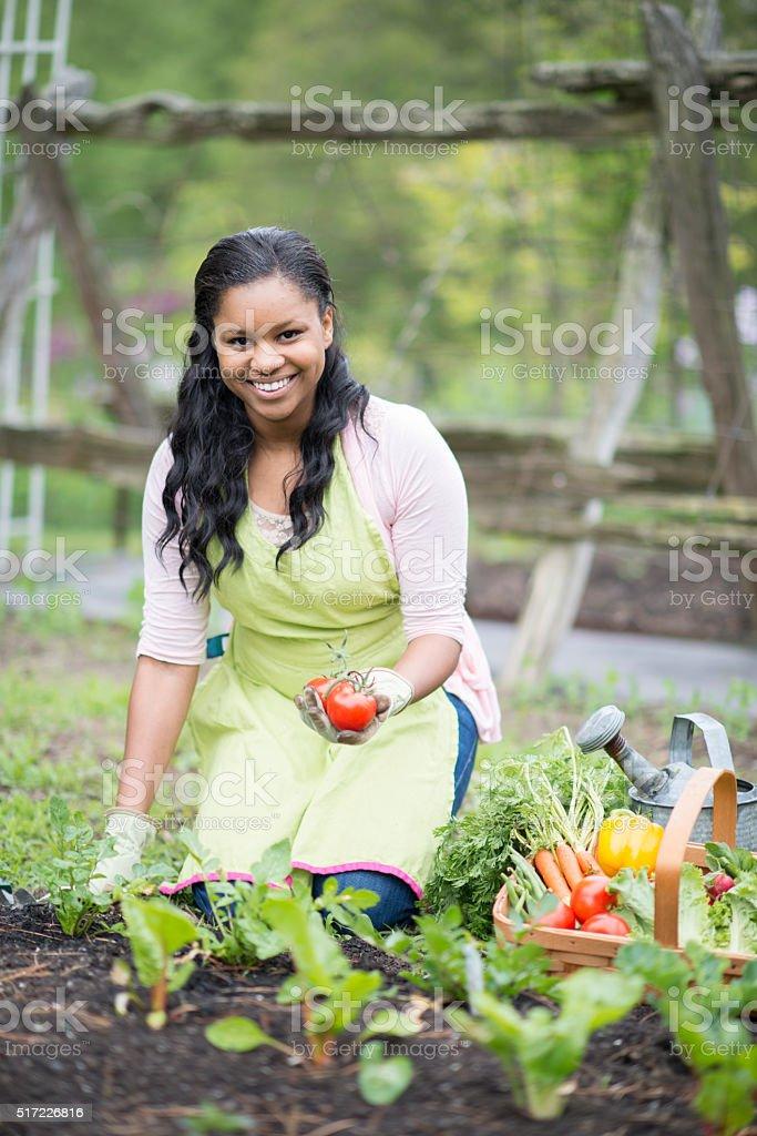 Woman Tending to Her Garden stock photo