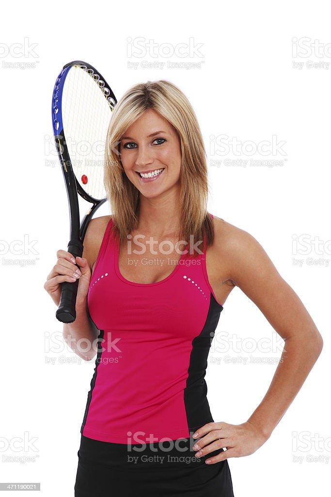 Woman Tennis Player On White royalty-free stock photo