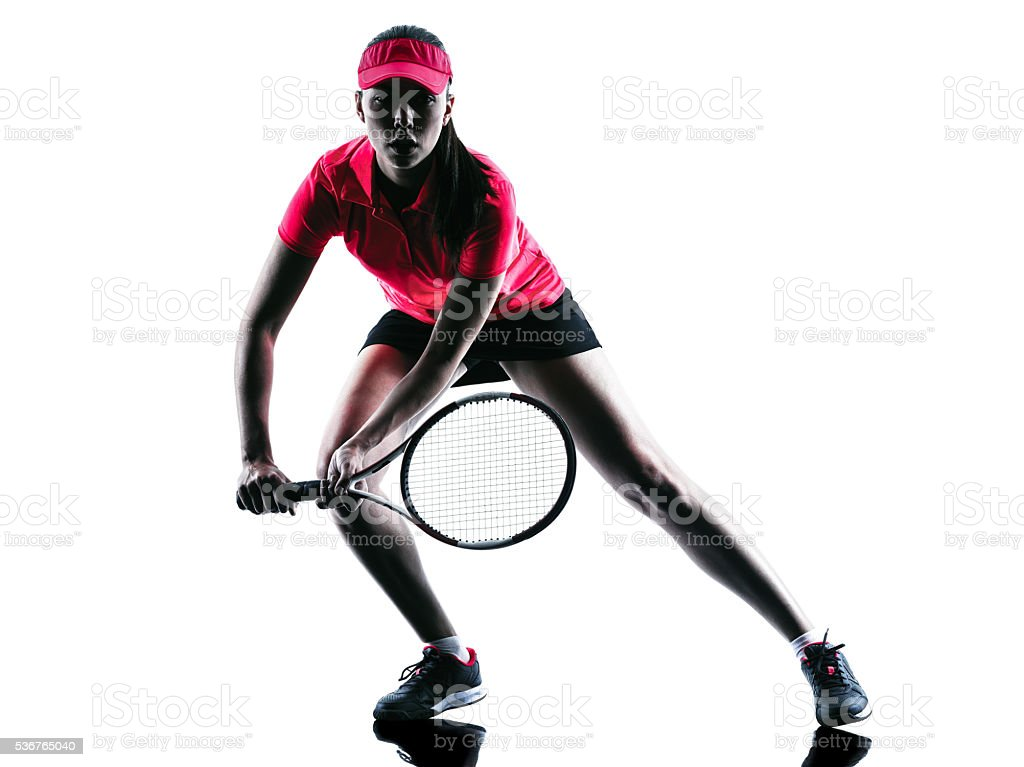 woman tennis player sadness silhouette stock photo