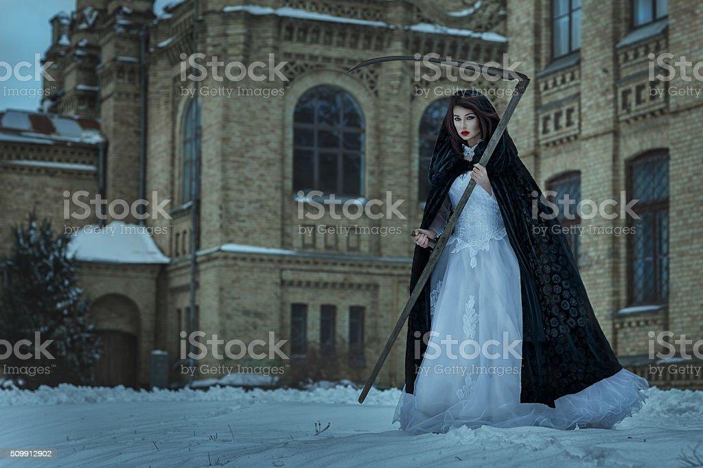 Woman terrible death. stock photo