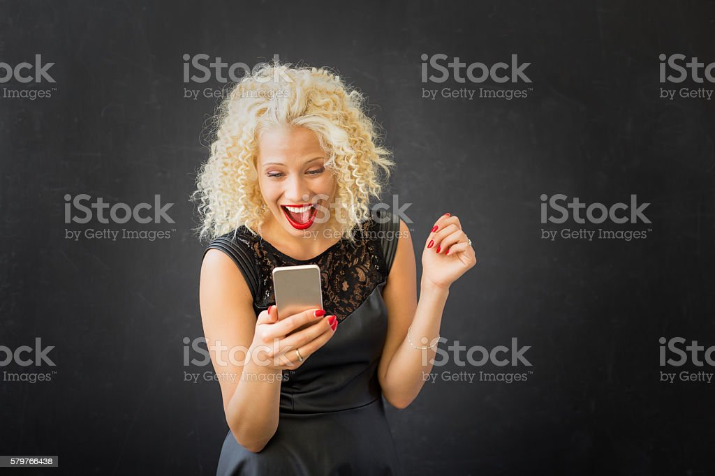 Woman texting and chating stock photo