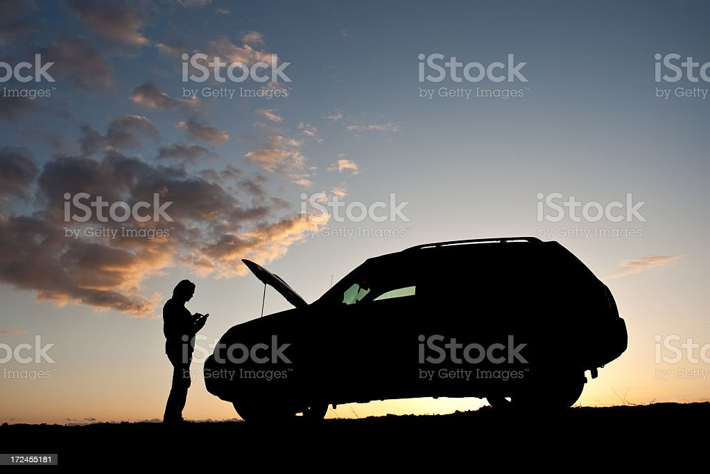 Woman Texting For Help With Car Trouble Beside Road royalty-free stock photo