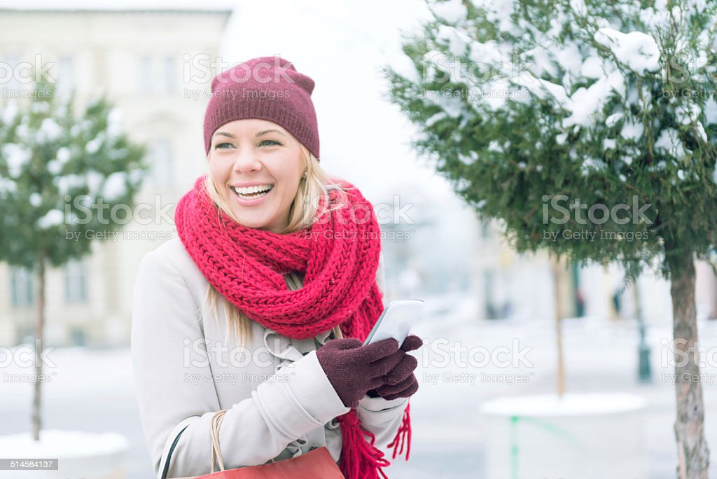 Woman texting message stock photo
