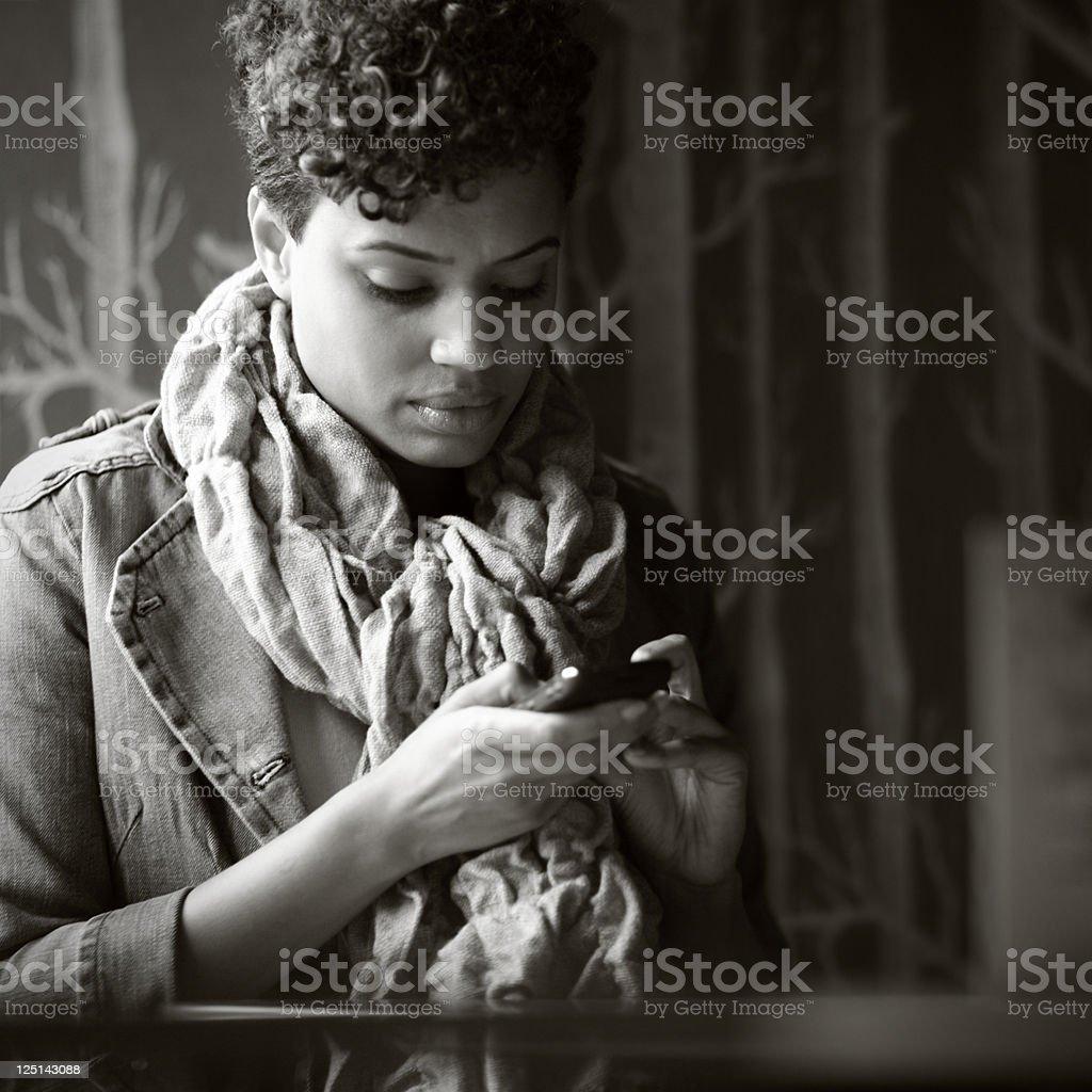 Woman Texting stock photo