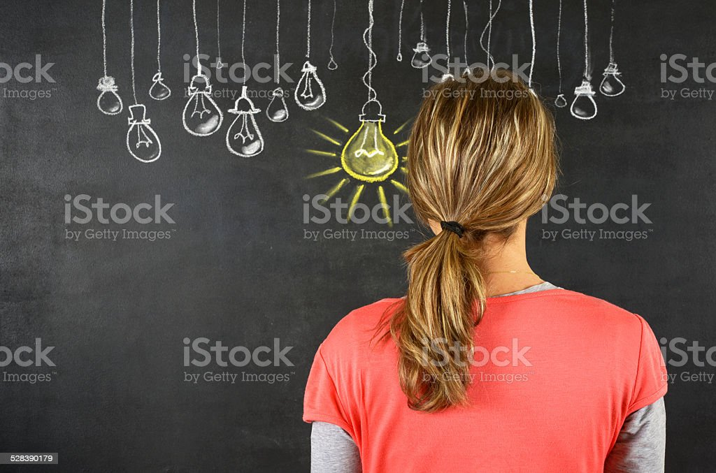 Woman Thinking Big Idea stock photo