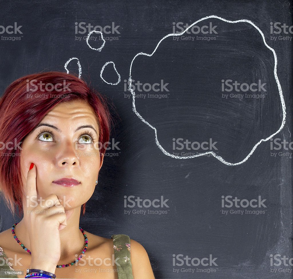 woman thinking in front of blackboard royalty-free stock photo