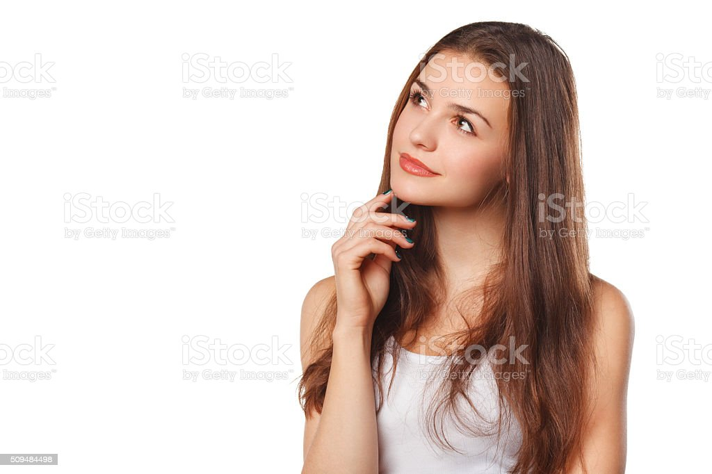 woman thinking looking to the side at blank copy space stock photo