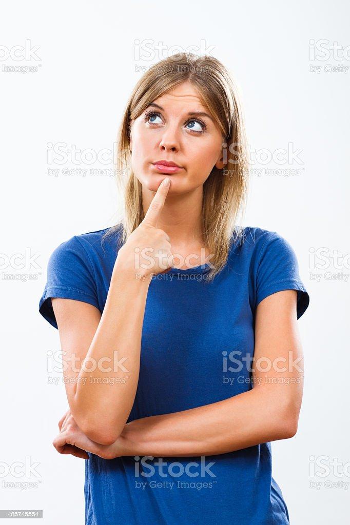 Woman thinking stock photo