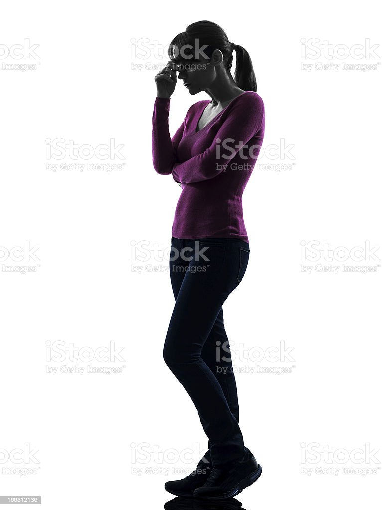 woman thinking sadness full length  silhouette royalty-free stock photo